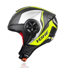 Yohe 851 Open Face Helmet (Matt Black/Yellow)