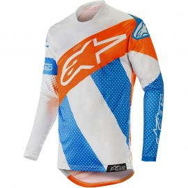 Alpinestars Racer Tech Atomic MX Jersey - Cool Grey / Mid Blue / Fluo Orange