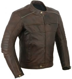 Vagos Distressed Motorbike Leather Jacket