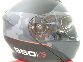 Yohe Full-Face 950 Flip-Up Helmet (Matt Black D.gray/red) - S